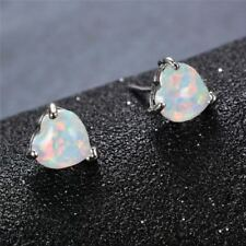 Romantic Love heart Shaped 6 MM White Fire Opal Solid Silver Stud Earrings