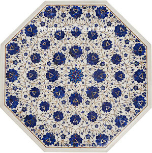 """24"""" Marble Table Top Inlay Pietra dura Semi precious stones lapis inlay Art work"""