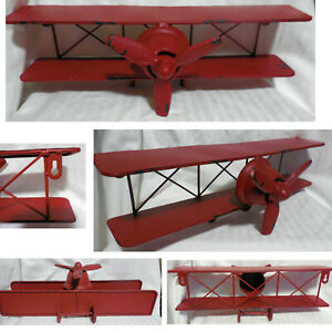 New Wall Mount Shelf Biplane Propeller Plane Distressed Metal Red Paint Art