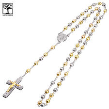 """6 mm Bead Rosary G / S Plated Guadalupe & Jesus Cross 28"""" Necklace HR 600 SG"""
