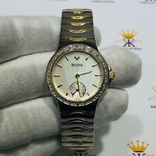 Bulova Diamond Bezel Two Tone Stainless Steel Mother Pearl Ladies Watch Gift