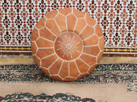 Authentic MOROCCAN POUF Leather Pouf Ottoman Pouffe footst HIGH LEATHER QUALITY