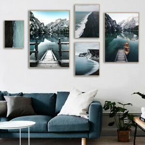 Wall Art Picture Mountain Lake Nature Landscape Poster Nordic Style Canvas Print