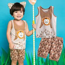 "Vaenait Baby Kids Girls Boys Sleeveless Outfit Pajama set ""Super Chow"" 12M-7T"