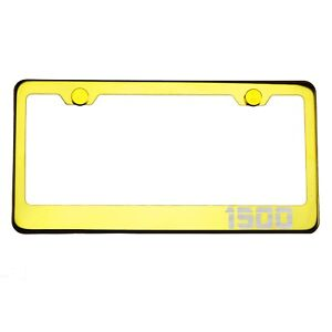 Gold Chrome License Plate Frame 1500 Laser Etched Metal Screw Cap
