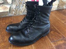 "Vintage 1994 Wolverine Steel Toe 9"" Black Leather Boots Combat Mens Size 11"