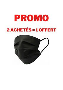 ❤️ 🇫🇷PROMO MASQUE DE PROTECTION NOIR LOT de  50 ,  3 LOTS pour 19,80€