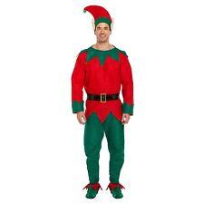 Elf Costume Mens Adult Christmas Fancy Dress Costume Santa Helper New