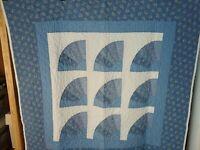 "Vintage Lap Patchwork Quilt Blanket Throw Wall Hanging Denim 40"" X 40"""