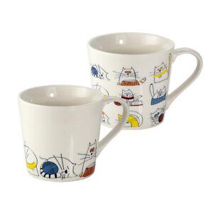 Set of 2 Large Mugs Tea Coffee Cups Porcelain China Funny Cats Gift Men Women