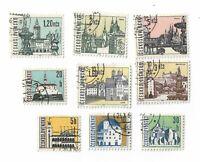 Czechoslovakia postage stamps x 9, 1965 Czech Towns