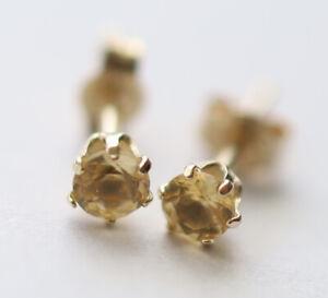 100% Genuine 9ct 9k 375 Yellow Gold NATURAL Citrine Stud Earrings 3mm