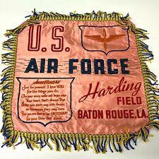 VTG WW2 Satin Pillow case sham Harding Field Baton Rouge US Army Air Force  - P6