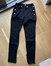 NEW BALMAIN Signature High Waisted Black Trousers FR38