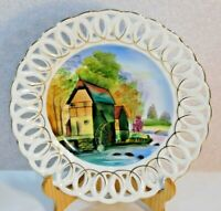 Vintage Plate Old Mill with Water Wheel Hand Painted Reticulated Scalloped Edge