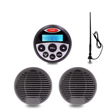 "Waterproof Radio Marine Audio Package Stereo 2 black 3"" Boat Speaker for ATV UV"
