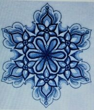 Delft Blue Snowflakes Winter Christmas EMBROIDERED  4 QUILT BLOCKS Beautiful Set