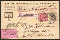 DR Nachnahme 4 Reichmark 10 Pfg. Karte Zwöntitz i.Sa. 15.10.1904 n. Zschöppichen