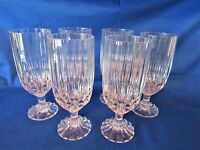 Set of 6 Cristal d'Arques JG Durand Bretagne Clear Cut Crystal Water Goblet