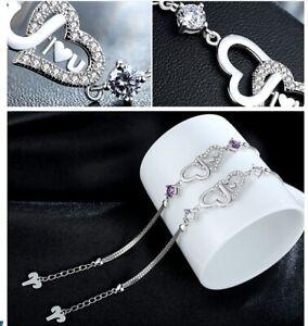 Womens  Jewellery Gift 925 Sterling Silver Diamante Bracelet Double Heart