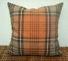 "Handmade 16"" Cushion Cover Next Check Stirling Ginger Orange Beige Tartan Plaid"