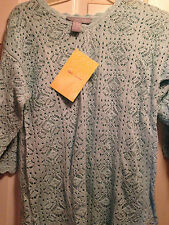 Modern Soul Mint Green 3/4 Sleeve Crocheted Top, Scoop Neck, Small, New w/tags