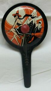 Vintage Halloween Tin Noise Maker with Sexy Witch Graphics (Double Mallet Gong)