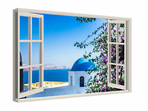Scenic Greek Island Through A Window Canvas Print Wall Art Picture Ready To Hang
