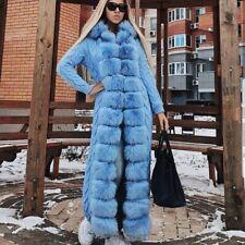 Winter Cape Fox Fur Long Cardigan Coat Knit Sweater Designer Style Outwear