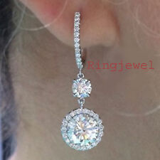 9.24ct D-h+Color vvs1/GREAT WHITE ENGAGEMENT GORGEOURS .925 SILVER EARRING-VIDEO