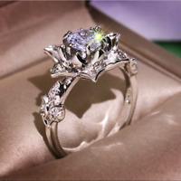 Elegant Round Cut White Sapphire Flower Ring 925 Silver Women Wedding Jewelry