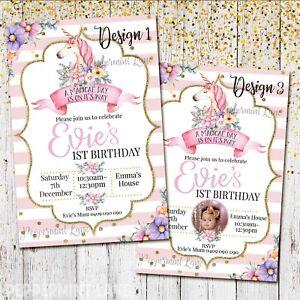 DIGITAL or PRINTED Personalised UNICORN Birthday Party Invitation Invite 1st