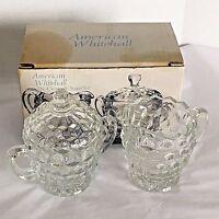 NOS VTG 3 Piece Cream & Sugar Set Indiana Crystal Glass Clear American Whitehall