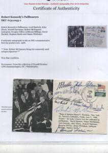 8 Autographs of RFK Pallbearers -- Robert Kennedy John Glenn - S. Smith etc.
