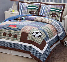 FIELD SPORTS Twin (single) QUILT SET - TEEN BOYS STATE FOOTBALL SOCCER BASEBALL