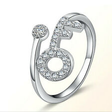 Korean Womens Crystal White Gold Filled Cute Key Band Ring Size Adjustable