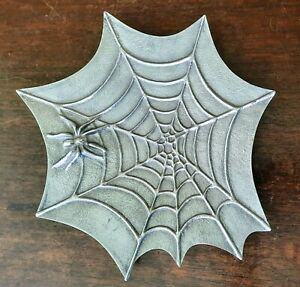 Halloween Gothic Spooky Spider Web 3D Metal Dish Tray Keane Collection