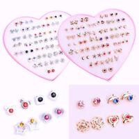 12/36 Pairs Elegant Women Crystal Diamante Flower Stud Earrings Jewelry Gift Set