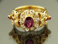 EDWARDIAN 1.10 CARAT NOT HEAT BURMESE RUBY & DIAMOND 18K YELLOW GOLD RING