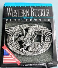 New Men's Pewter Western Belt Buckle Wild Eagle In Flight Made In USA by EJC 95
