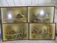 Lot of 4 Vtg TV Trays Andres Orpinas Country Barn Scenes Mid Century Dinner Tray