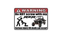 WARNING: Funny Decal/Sticker for RZR lovers XP 1000 Car/Truck/Home/ATV/UTV (4)