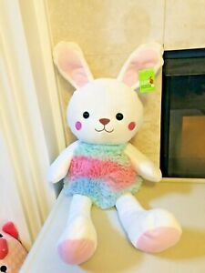 Easter Bunny Rabbit Stuffed Animal White with Blue Pink Dress 20 inch NEW
