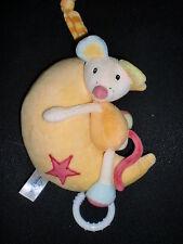 doudou peluche musical souris sur lune jaune BEAUTY BABY boite musique 18cm