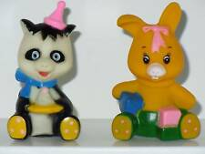 RARE Vintage Hong Kong 1979 The Dolly Toy Co. BIRTHDAY PANDA & PLAYTIME BUNNY