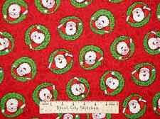 Christmas Santa Claus Peace Sign Wreath Red Holiday Novelty Cotton Fabric YARD