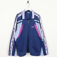 Vintage 90s DIADORA Tape Logo Tracksuit Top Jacket Blue Purple   XL