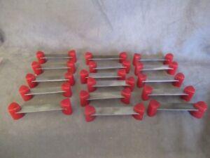 16 RED BAKELITE & Steel  Bridge Drawer Pulls Handles  ks302