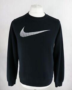 Mens NIKE Logo Crew Sweatshirt Size SMALL Jumper Pullover Black Long sleeve Top
