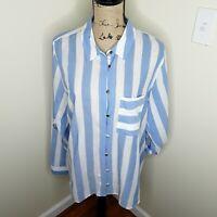 Soft Surroundings Capri Blue & White Stripe Button Down Shirt Blouse Size Xl